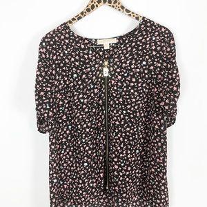 Michael Kors floral zipper blouse Sz L